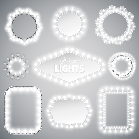 celebratory: White Christmas Lights Frames with a Copy Space for Celebratory Design. Used pattern brushes included.