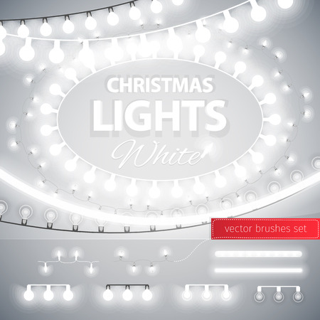 string: White Christmas Lights Decoration Set for Celebratory Design. Used pattern brushes included. Illustration