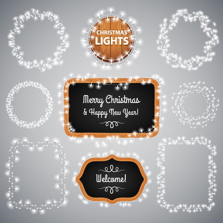 christmas bulbs: White Christmas Lights on Blackboard for Celebratory Design. Used pattern brushes included.