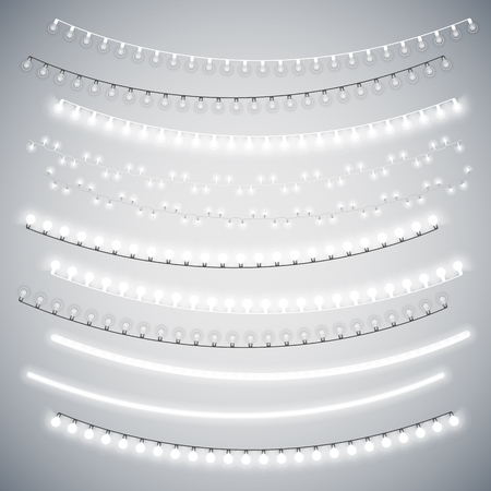 White Christmas Electric Garlands Set for Celebratory Design. Used pattern brushes included. Vettoriali