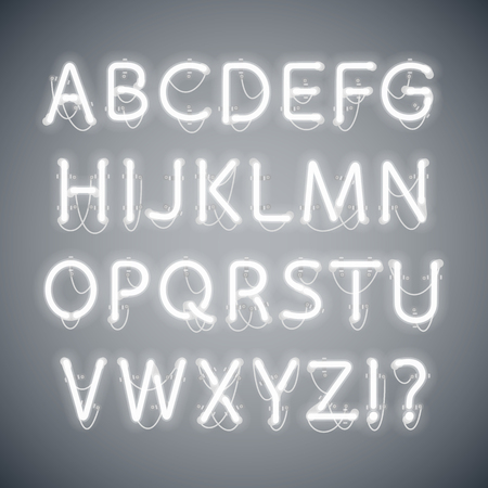 White Glowing Neon Alphabet. Used pattern brushes included. There are fastening elements in a symbol palette. Çizim