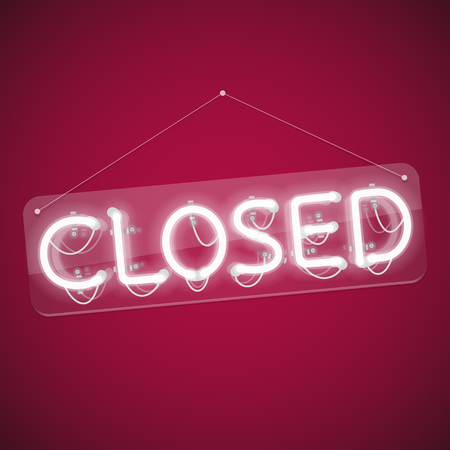 White Glowing Neon Closed Sign. Used pattern brushes included. There are fastening elements in a symbol palette. Illustration