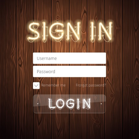 login: Web Login Form Template with Neon Lights on Wooden Background. Used pattern brushes included. There are fastening elements in a symbol palette.
