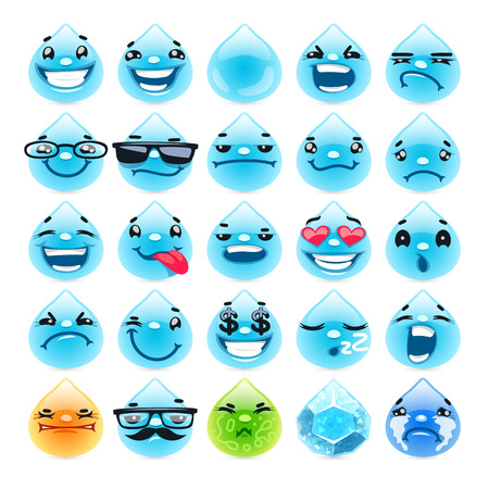 sick: Cartoon Water Drops Emoticons. Isolated on white background. Clipping paths included.