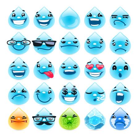 chory: Krople wody Cartoon emotikony. Pojedynczo na białym tle. ścieżki obcinania włączone. Ilustracja