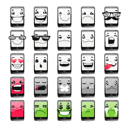 broken telephone: Cartoon Phones Emoticons. Isolated on white background. Clipping paths included. Illustration