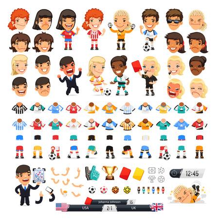 Gran juego de fútbol para su diseño o animación. Dibujos animados iconos y jugadores de fútbol femenino internacional. Aislado sobre fondo blanco