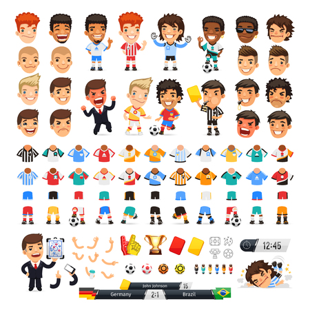 Big soccer set for your design or animation. Cartoon international football players and icons. Isolated on white background.