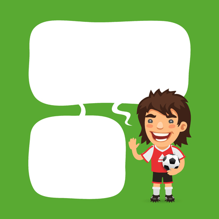 male face: Soccer player with speech bubble on green background.     included in additional jpg format.