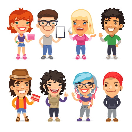 paths: Trendy Dressed Cartoon Characters. Isolated on white background. Clipping paths included in additional jpg format. Illustration