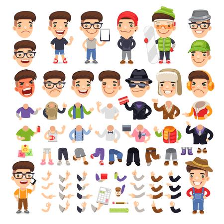 さりげなく服を着て漫画のキャラクター デザイン、アニメーション。白い背景上に分離。追加の jpg 形式で含まれているパスをクリッピングします