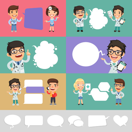 Set of a Speaking Cartoon Doctors. Clipping paths included in jpg format. Vectores