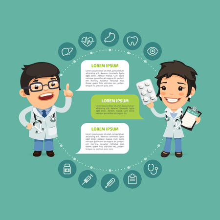 teamwork cartoon: Speaking Doctor Infographic with Icons. Clipping paths included in jpg.