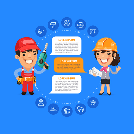 coverall: Team Working Cartoon Builders Infographic with Icons. Clipping paths included in jpg format.
