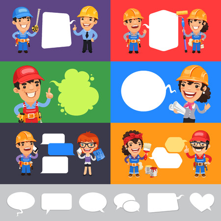 coverall: Set of a Speaking Cartoon Builders with Speech Bubbles. Clipping paths included in jpg format. Illustration