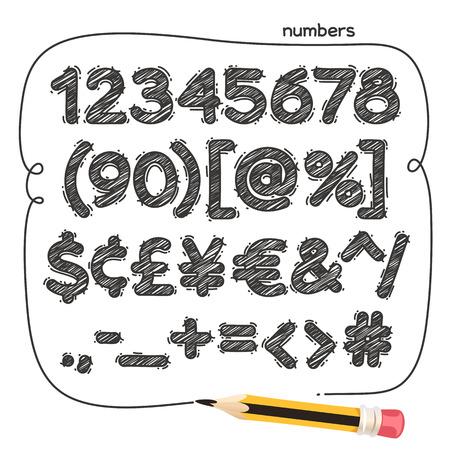 Cartoon doodle cijfers en leestekens. Geïsoleerd op een witte achtergrond. Clipping paths opgenomen in JPG-bestand. Vector Illustratie