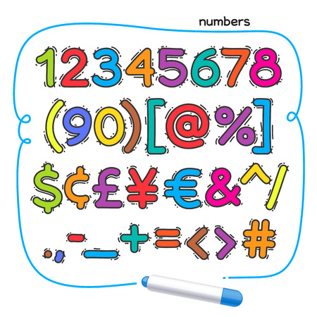 felt tip: Cartoon colorful doodle numbers for your kids design. Isolated on white background. Illustration
