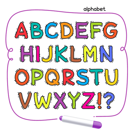 felt tip: Cartoon colorful doodle alphabet for your kids design. Isolated on white background.