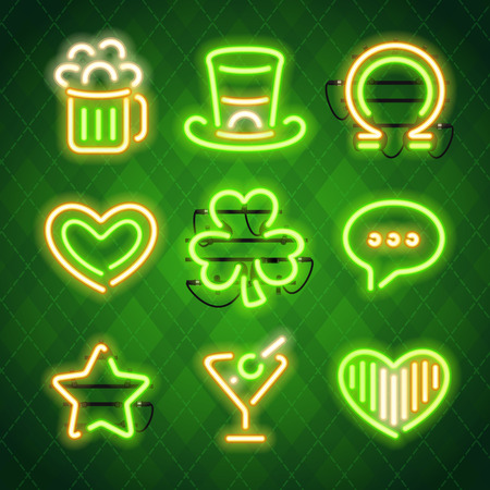 fastening: St Patricks Day Glowing Neon Signs Set. Used pattern brushes included. There are fastening elements in a symbol palette.