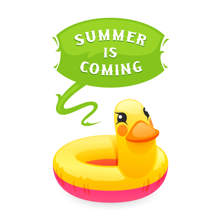 says: Colorful duck says Summer is Coming poster. Isolated on white background.
