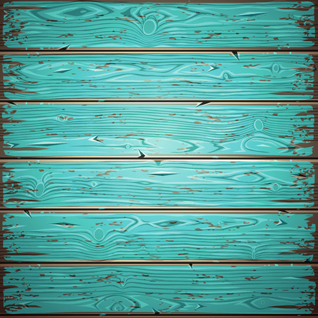 painted background: Aquamarine old wooden painted wall. Vintage retro background. Editable pattern in swatches. Illustration