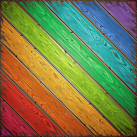 rainbow colors: Rainbow old wooden painted wall diagonal. Vintage retro background. Editable pattern in swatches. Illustration