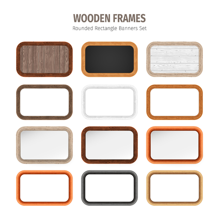 wood frame: Wooden frames rounded rectangle banners collection. Used pattern brushes included in Brushes panel. Used patterns included in Swatches panel.
