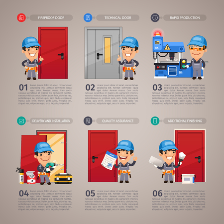 brandweer cartoon: Brandwerende Productie Door stap voor stap met stripfiguur. Stock Illustratie