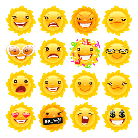 Cartoon Sun Emoji Set for Your Summer Projects. Isolated on white background.