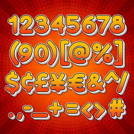 numbers: Comic colorful numbers for your cool design