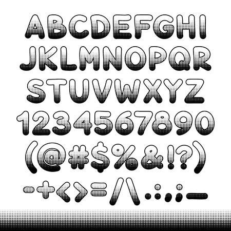 offset: Comic font black offset print for your retro design. Isolated on white background. Illustration