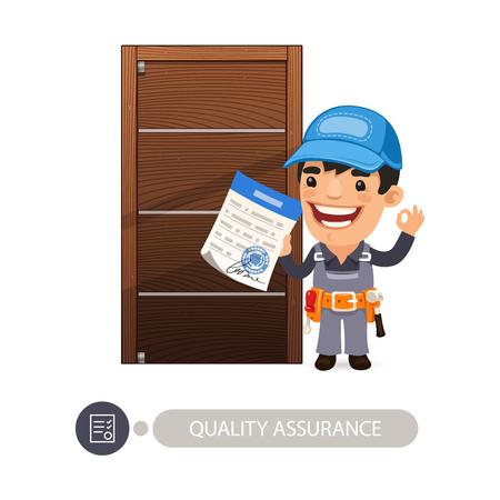 Trabajador y aseguramiento de la calidad de la puerta.