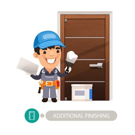 doorway: Worker performs finishing doorway work.