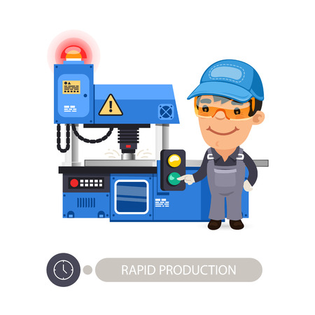Worker pushes the start button on the milling-machine. Иллюстрация