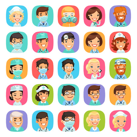 quarantine: Doctors cartoon characters rounded square icons set. Isolated on white background.