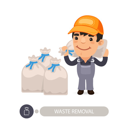Garbage worker carrying construction rubbish bag. Isolated on white background.