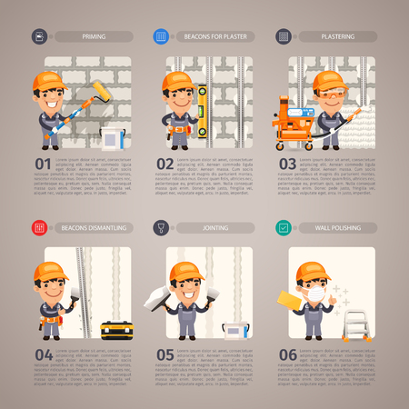installation: Wall repair step by step with cartoon character. Illustration