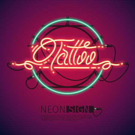neon sign: Retro neon Tattoo sign on purple background.