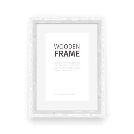 rectangle: Wooden rectangle frame white.