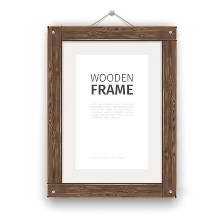 Old wooden rectangle frame light. Illustration