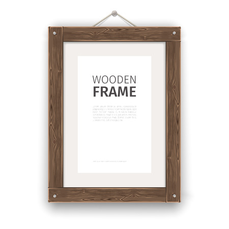 wood frame: Old wooden rectangle frame light. Illustration
