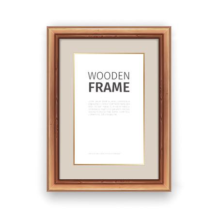rectangle frame: Wooden rectangle frame with gold. Illustration
