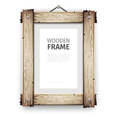 Alte Holz Rechteck-Rahmen mit geknackt weißer Farbe. Standard-Bild - 56473072