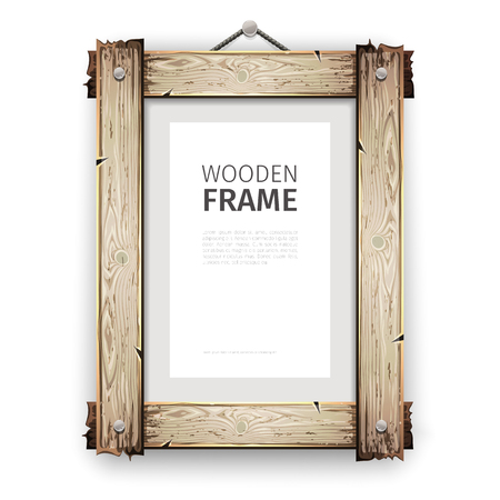 wood frame: Old wooden rectangle frame with cracked white paint.