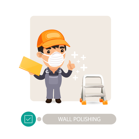 renovations: Worker polishing wall. Cartoon character. Isolated on white background.