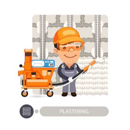 plastering: Worker plastering wall. Cartoon character. Isolated on white background.