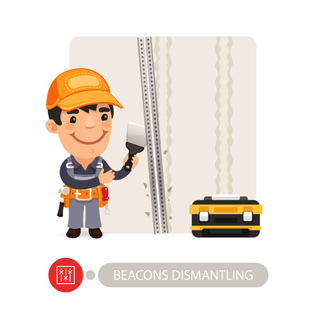 beacons: Worker dismantling wall beacons. Cartoon character. Isolated on white background.