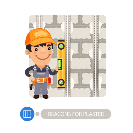 installing: Worker installing beacons for plaster. Cartoon character. Isolated on white background.