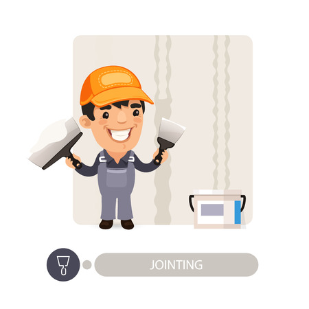 dub: Worker dub wall joints. Cartoon character. Isolated on white background. Illustration