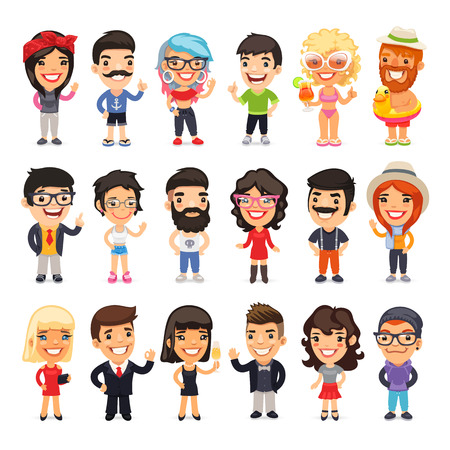 Big set of 18 casually dressed flat cartoon people. Isolated on white background.